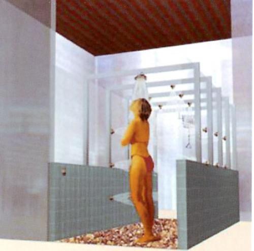 Cabinas De Ducha Para Gimnasios:Tunel bitérmico de lluvia para balnearios